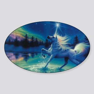 NORTHERN LIGHTS UNICORN Sticker (Oval)
