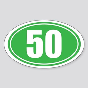 50 green oval Sticker (Oval)