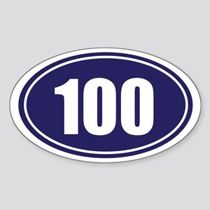 100 blue oval Sticker (Oval)
