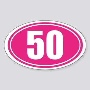 50 Pink oval decal Sticker (Oval)