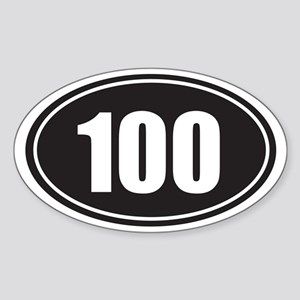 100 black oval Sticker (Oval)