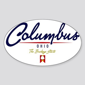 Columbus Script W Sticker (Oval)