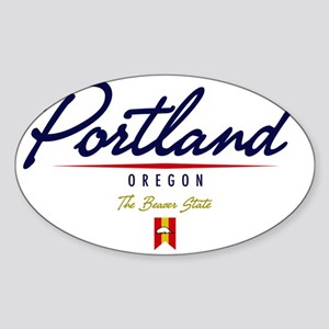 Portland Script W Sticker (Oval)