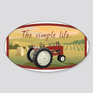 The simple life tractor farm - Colo Sticker (Oval)
