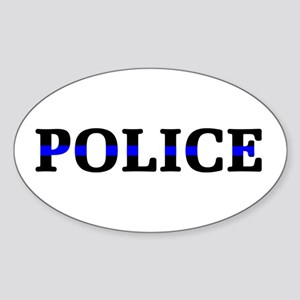 Police Blue Line Sticker (Oval)