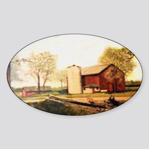 Barn With Painting Sticker (Oval)