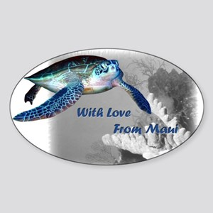 With Love From Maui Oval Sticker
