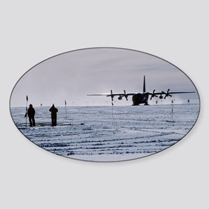 Antarctic airfield - Sticker (Oval)