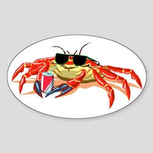 Cool Cancer Crab Oval Sticker