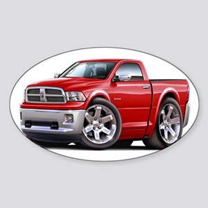 Ram Red Truck Sticker (Oval)