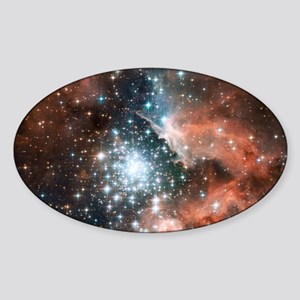 Space galaxy nebula bright stars na Sticker (Oval)