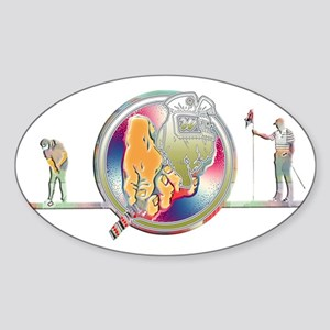 Golden Gloves Golfing Art Sticker (Oval)