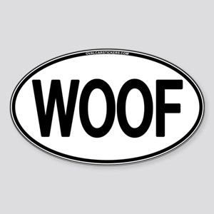 WOOF Oval Oval Sticker