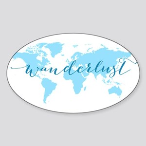 Wanderlust, blue world map Sticker