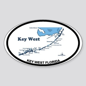 Key West - Map Design. Sticker (Oval)