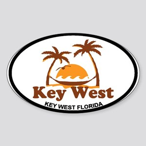 Key West - Palm Trees Design. Sticker (Oval)