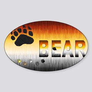FURRY BEAR PRIDE FLAG/BEAR Oval Sticker
