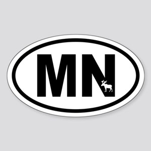 Minnesota Inset Moose Oval Sticker