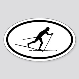Cross Country Skier Oval Sticker