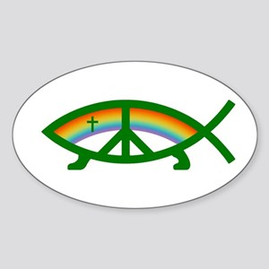 Thoroughly Liberal Jesus Fish Oval Sticker