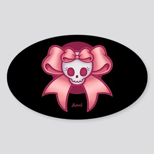 Skull 'n Bows Sticker (Oval)