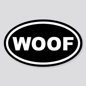 WOOF Black Euro Oval Sticker