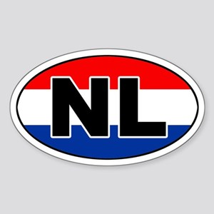 Dutch / The Netherlands (NL) Flag Oval Sticker