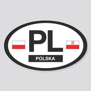 PL Car Decal - Polska (Poland) - Oval Sticker