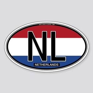 Netherlands Oval Colors Oval Sticker
