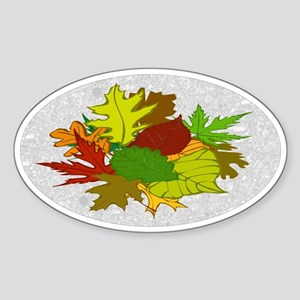 Fall Foliage Leaves Oval Sticker