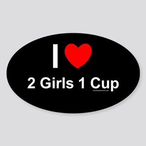 2 Girls 1 Cup Sticker (Oval)