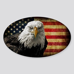 Bald Eagle and Flag Sticker (Oval)