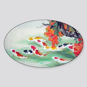 Koi Fish Cute Sticker (Oval)