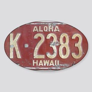 Hawaiian Aloha LIcense Plate Sticker (Oval)