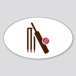 Cricket bat stumps Sticker (Oval)