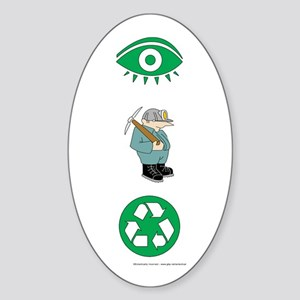 I Dig Recycling Oval Sticker