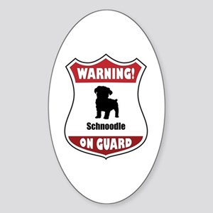 Schnoodle On Guard Oval Sticker