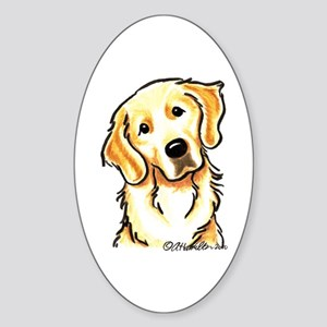 Golden Retriever Portrait Sticker (Oval)