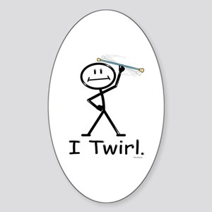 Baton Twirler Stick Figure Sticker (Oval)