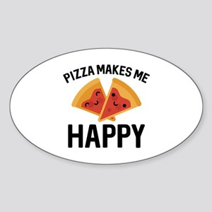 Pizza Makes Me Happy Sticker (Oval)