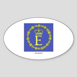 Queen Elizabeth II Flag Oval Sticker