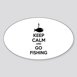 Keep calm and go fishing Sticker (Oval)