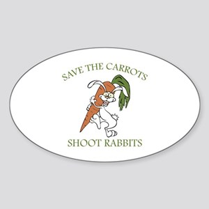 Save The Carrots Shoot Rabbits Sticker (Oval)