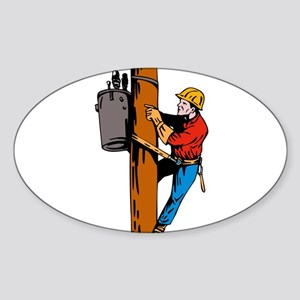 power lineman repairman Sticker (Oval)