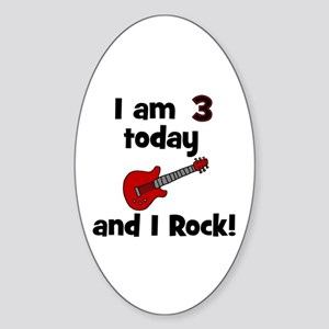 I am 3 today and I Rock! Gui Oval Sticker