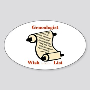 Genealogy Wish List Oval Sticker