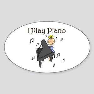 I Play Piano Oval Sticker