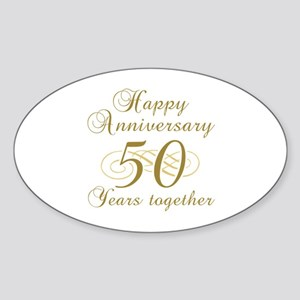 Stylish 50th Anniversary Sticker (Oval)