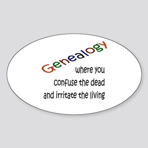 Genealogy Confusion (blk) Oval Sticker