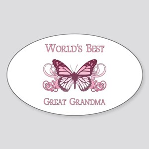 World's Best Great Grandma (Butterfly) Sticker (Ov